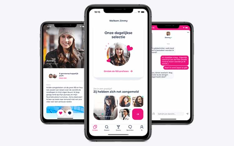 Zoek en leg contact met een date via de dating app.